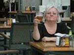 Kathy enjoying a cerveza in Plaza Mayor