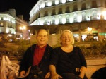 Danny and Kathy hanging out at fountain in Puerta del Sol